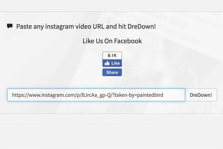 DreDown для скачивания видео из инстаграмма